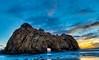Key Hole Rock, BigSur (rkpunnamraju) Tags: sunset sky nature rock skyline clouds landscape nationalpark bigsur bluesky beaches bluehour keyholerock