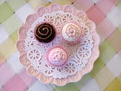 Neapolitan Bon Bons (retro_girl_design) Tags: crochet swirl sweets candy play food pretend fake handmade tea party pink toys kids
