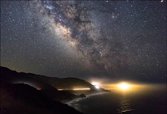 the Milky Way and the light house (lucmena) Tags: ocean california ca light sky usa house night way stars coast losangeles big long exposure bright outdoor galaxy astrophotography sur milky