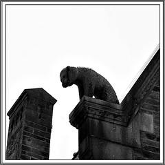 7 - Nantes, Htel Dobre, Acrotre, Ours (melina1965) Tags: pays de loire loireatlantique nantes juillet july 2016 nikon d80 noiretblanc blackandwhite bw sculpture sculptures ciel sky faade faades chemines chemine chimney chimneys