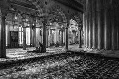 L1003286sb (drclerk) Tags: leica travel bw contrast turkey blackwhite prayer religion streetphotography indoor legendary summicron muslims bluemosque islamic sultanahmet m9p