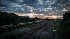 Midland Road Depot (Richard Croft136) Tags: road city railroad sunset red sky orange sun set clouds evening track centre leeds railway 66 class points rails depot rays coal railways hopper freight midland wagons tmd hunslet 47830