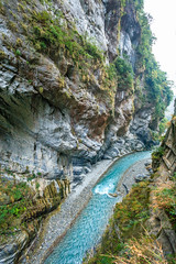 Taiwan-121116-474 (Kelly Cheng) Tags: travel blue color colour green tourism nature water vertical landscape daylight colorful asia stream day outdoor taiwan nobody nopeople gorge colourful tarokonationalpark tarokogorge  traveldestinations  northeastasia