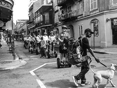 French Quarter traffic jam, New Orleans (christiane wilke) Tags: new orleans french quarter street strasse segway dog man