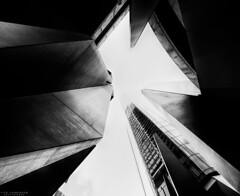 Brisbane' Sky - Pt.4 (vito.chiancone) Tags: brisbane australia queensland bn bw monochrome skyscrapers skyscraper grattacielo citt urban geometry geometries angles lowangle lookingup up city building bianco nero lines oldstyle