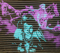 fortune teller and bandits (PDKImages) Tags: street city windows girls urban streetart london art girl beauty graffiti women scenery rooftops faces skin camden stripes murals caged shoreditch walls contrasts owls