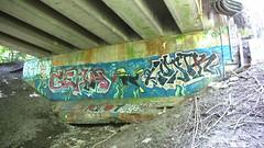 121crpshacolaconfwl (citatus) Tags: park bridge summer toronto canada david yellow creek graffiti afternoon pentax rail railway tags ii underside cp k3 mainline 2016 balfour