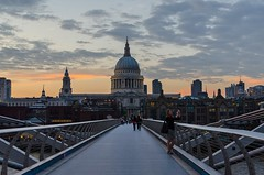 View of St. Paul Cathedral from Millennium Bridge at sunset (Igor Sorokin) Tags: stpaul cathedral uk england london capital millenniumbridge sunset travel island cityscape street scenic people photographer dslr nikon d7000 bridge thames river clouds dusk