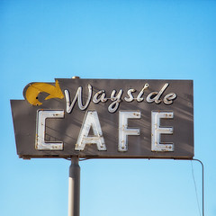 wayside (Maureen Bond) Tags: cafe wayside desert hot movealong dontstay mojave neon lights ca maureenbond americana