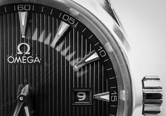 Time (erringtonsimon) Tags: time watch omega seamaster aquaterra seconds tick black white 9 macro zoom close 30mm sony nex nex5r
