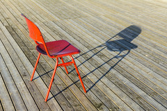 Red chair and shadow (Jan van der Wolf) Tags: map14882v chair stoel perspective perspectief shadow schaduw lines lijnen