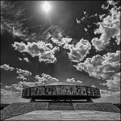Poland - Lublin - Majdanek Camp - The Mausoleum 04_sq mono_DSC1119 (Darrell Godliman) Tags: polandlublinmajdanekcampthemausoleum04sqmonodsc1119 monument mausoleum majdanekexterminationcamp majdanekconcentrationcamp majdanek kllublin lublin poland nazism nazi squareformat squares bsquare sq bw blackandwhite monochrome mono cloud clouds sunrays