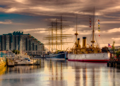 SS Olympia and the Moshulu (Daveyal_photostream) Tags: moshulu ssolympia ships tallships boats pennslanding photoshop photomatix philadelphia lightroom d600 nikon nikor nature water beautiful beauty amazing america usa reflection hdr detail digitalart antiques oldships raw cameraraw processing photoprocessing skyline outdoor architecture serene city sea river dusk landscape waterfront
