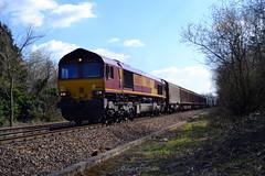 66085 - Heywood (AJHigham) Tags: train steel branded db 66 class moor freight dbs westbury livery schenker margam heywood ews 66085 doolands