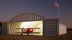 Hellmuths hangar at night