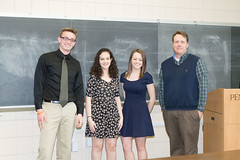 Tyler Logue, Alia Adams and Taylor Carlin posing with their mentor Dr. Michael Hay. They won first place in math and science at Penn State Beaver's 2015 Research Fair. (Penn State Beaver) Tags: students research pennstatebeaver undergraduateresearchfair
