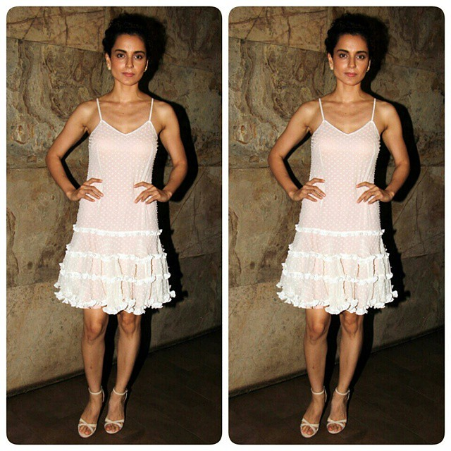 Kangana Ranaut at the special screening of her upcoming movie Tanu Weds Manu Returns. Tanu Weds Manu: Returns is an upcoming Bollywood romantic comedy film directed by Anand L. Rai. The film is a sequel to Tanu Weds Manu 2011, in which stars Kangana Ranau