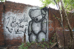 Brayk (tombomb20) Tags: bear street streetart art abandoned graffiti paint factory teddy decay sheffield bricks spray explore hanging graff comfort derelict noose protect ue urbex 2015 tombomb20 brayk braykgraff
