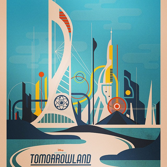 Personally I loved #tomorrowland Good old school #scifi fun! Great work by #bradbird. Love this #movie poster by awesome #kerbcrawlers artist @needledesign