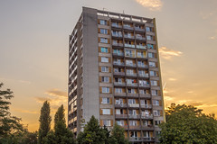 Apartment building (Plattenbau)- Breclav (Cz) (nicepicsnapper) Tags: apartment building urban sunset czech republic breclav lundenburg plattenbau