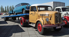 Borgward car transporter (The Rubberbandman) Tags: world auto classic beauty car truck work vintage germany outdoor transport engine meeting goods semi b4500 lorry fabric cover german transportation vehicle bremen freight transporter motorshow fahrzeug flatbed lastwagen 4500 borgward lkw laster