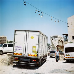 Sheikh Jarrah, Jerusalem (Gabriela Gleizer) Tags: israel sheikh jarrah jerusalem arab neighborhood shoes city truck film analog mamiya c330 tlr twin lens ektar 100 kodak