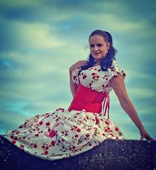 Elizabeth Miller (Clandrew) Tags: clandrew vintage elizabethmiller fashion portland dorset portlandbill girl model red dress