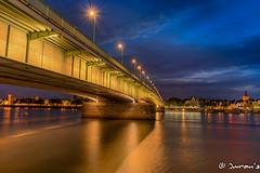 Deutzer Brcke Kln (Imran's) Tags: deutzer brcke kln deutzerbrckekln bridge brug suspension rhine riverrhine water bluehour bluesky clouds