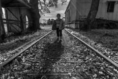 Walking along the railroad tracks (Mario Donati) Tags: 7dwf nikon d3100 sigma1020mm bw
