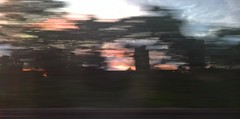 London 13 August 2016 026 (paul_appleyard) Tags: london red sky trees blur movement motion clapham railway travel moving dusk sunset lumia 950 train