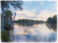 Evening light on the Tomoka River (Solly Avenue) Tags: waterscape light landscape sunset river painterlyapp ipadpainting ipadsketching impressionism digitalphotoart photomanipulation painterly