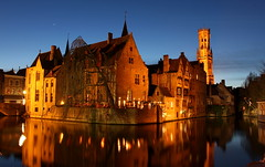 Blue Hour Bruges (music_man800) Tags: street city blue winter sunset vacation sky urban holiday reflection church night canon reflections photography lights star evening march canal twilight europe pretty break belgium dusk brugge hour planet bruges 700d