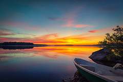 Dawn of a new day (L.Matero) Tags: blue trees orange lake nature its sunrise canon suomi finland dawn boat colorful calm best stunning serene jyvskyl mosquitos f4 6d 1635 auringonnousu