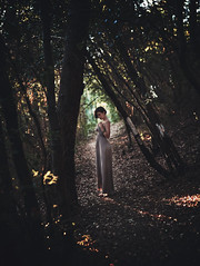 Cristina (Alessandro Bondielli) Tags: girl woman model beauty nature natural trail woods afternoon sunset bokeh panorama brenizer dress long light beautiful lonely lonelyness portrait portraiture young lovely montemarcello leica
