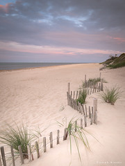 Beach Comb (Sarah_Brooks) Tags: hemsby norfolk eastanglia beach fence sand sky cloud summer sunset windfarm northsea
