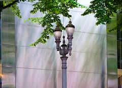 Streetlight Against the Stainless (Orbmiser) Tags: 55200vr d90 nikon oregon portland summmer lamppost streetlight sidewalk building stainless steel