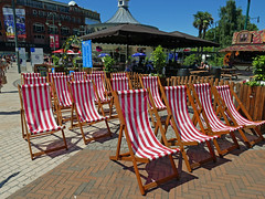 chairs in the square 204/366 (dawn.v) Tags: chairsinthesquare deckchairs bournemouthsquare bournemouth dorset uk england july summer 2016 lumixlx100 hotweather explored interestingness stripes