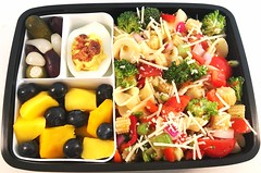 Pasta Salad Bento (Cathryn3) Tags: bento lunch salad pasta tomato redbellpepper redonion celery broccoli babycorn deviledegg pickle springonion olive mango blueberry