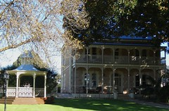 Goolwa. Rose Eden House built in 1876.  Beautiful Italianate style mansion with a giant Moreton Bay Fig tree in the front garden dwarfing the house. Fountain and gazebo in the garden. (denisbin) Tags: wa roseedenhouse fountain gazebo garden moretonbayfig