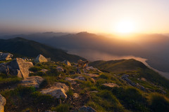 Queen of the mountain (yoshy!) Tags: landscape nature outdoors mountain mountains switzerland swiss tessin ticino hike hiking sunset sun glow light warm goat rocks lake atmosphere mood view wild travel