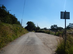 Road to Heronbridge, 2016 Jul 19 (Dunnock_D) Tags: uk unitedkingdom britain england chester green grass trees blue sky heronbridge road roadsign pumpingstation waterworks