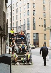 Lunch (joshuacolephoto) Tags: bristol uk england street streetphotography walk beige capture people lines hard film 135 kodak portra 400 nikon fe2