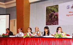 Panel members, L-R Sanjay Rijal, Andrew Thorne-Lyman, Gerald Shively, Ganesh Thapa, Gogi Grewal, Bhim Kumari Pun by