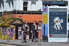 Urban Art, Stevenson Square, Northern Quarter, Manchester, England. (westport 1946) Tags: england unitedkingdom manchester manchesterstreets streetphotography streetview streetart stevensonsquare northernquarter sidewalk pavement outdoor outhousemcr urbanscene citycentre cityscene citylife urbanart jayeego girls females people pedestrians text signboard graffiti kunst kunstwerk koffeepot backpack
