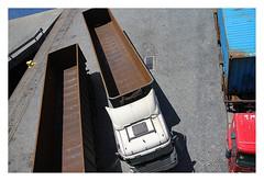 Lea da Palmeira - Porto de Leixes - TCGL - Trucks (AurelioZen) Tags: europe portugal porto matosinhos portofleixes tcgl terminaldecargageraledegranisdeleixes trucks pavement cobblestones abstract shadows