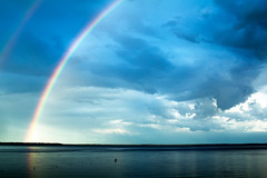 Nagagami Rainbow Sky (matthewkaz) Tags: nagagami nagagamilake lake water sky clouds rainbow doublerainbow rainbows fishing fishcamp buoy reflection reflections weather ontario canada 2016 buoys