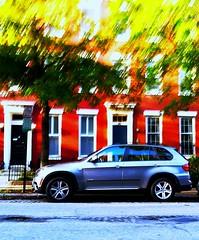blue bmw (josephr3) Tags: bmw bluecar bricktownhouse redbrick cityparking