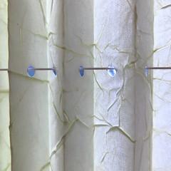 holes on the line (vertblu) Tags: inarow macromondays macromode macro makro pleatedblind 500x500 hmm texture texturesquared textures textur white lightblue holes abstract abstrakt abstraction vertblu lightshadow minimalismus minimal minimalism fabric string bsquare line ontheline creases folds histoiresd