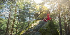the forest (Ch3micals) Tags: landscape forest girl red light aire libre vestido