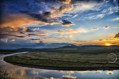 Sunset across the river II - Inner Mongolia